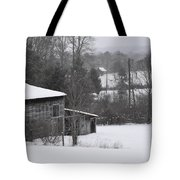 Old Barn In Winter Scenery Tote Bag