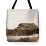 Old Barn With Mount Hood In Sepia Tote Bag