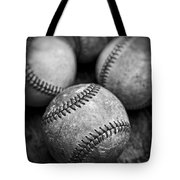 Old Baseballs In Black And White Tote Bag by Edward Fielding