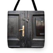 Old Black Closed Door Tote Bag