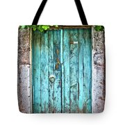 Old Blue Door Tote Bag by Delphimages Photo Creations