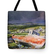 Old Boat On Shore Tote Bag