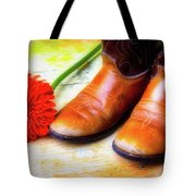 Old Boots And Daisy Tote Bag