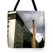 Old Brick Chimney Amongst Modern Office Buildings Near The Railway Station Perugia Umbria Italy Tote Bag