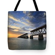 Old Bridge Sunset Tote Bag