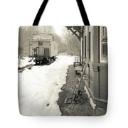 Old Caboose At Period Train Depot Winter Tote Bag