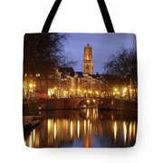 Old Canal And Dom Tower In Utrecht In The Evening 16 Tote Bag