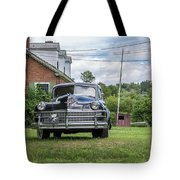 Old Car In Front Of House Tote Bag