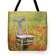 Old Chair In Wildflowers Tote Bag