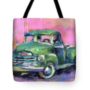 Old Chevy Chevrolet Pickup Truck On A Street Tote Bag