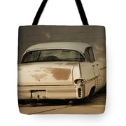 Old Cadillac In Sepia Tones Tote Bag