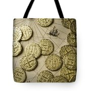Old Coins On Old Map Tote Bag