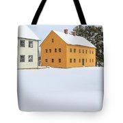 Old Colonial Wood Framed Houses In Winter Tote Bag