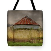 Old Corn Crib In The Cloudy Sky Tote Bag
