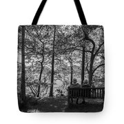 Old Couple On The Bench By The Lake Tote Bag