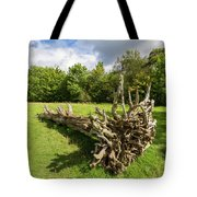 Old Cut Tree On A Meadow Tote Bag