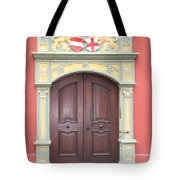 Old Door And Emblem Tote Bag