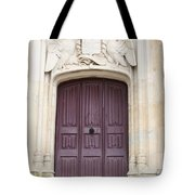 Old Door With Swan Relief Tote Bag