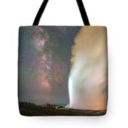 Old Faithful Erupts At Night Tote Bag