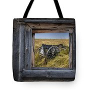 Old Farm Wagon Viewed Through A Barn Window Tote Bag