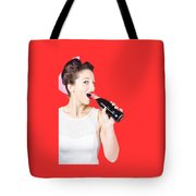 Old-fashion Pop Art Girl Drinking From Soda Bottle Tote Bag