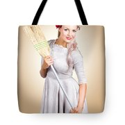 Old Fashion Woman Spring Cleaning With Broom Tote Bag