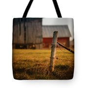 Old Fence With A Red Barn Tote Bag