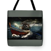 Old Fishing Boat In A Storm  L A Tote Bag