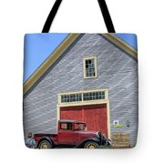 Old Ford Model A Pickup In Front Barn Tote Bag