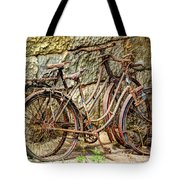 Old French Bicycles Tote Bag by Debra and Dave Vanderlaan