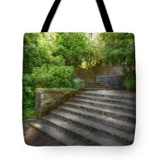Old Garden With Stone Walls And Stair Steps Tote Bag