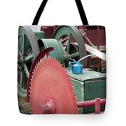 Old Gas Engine And Saw Blade At A County Fair Tote Bag