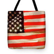 Old Glory Flag In Breeze Tote Bag