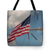 Old Glory Flying Over Eagle Tote Bag