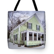 Old Green And White New Englander Home Tote Bag