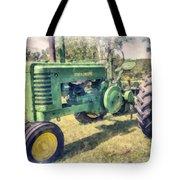 Old Green Vintage Tractor Watercolor Tote Bag