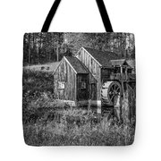 Old Grist Mill In Vermont Black And White Tote Bag
