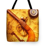 Old Gun On Old Map Tote Bag