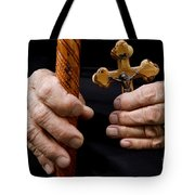 Old Hands And Crucifix  Tote Bag