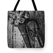 Old Horn And Roses On Door Black And White Tote Bag