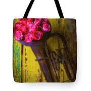 Old Horn And Roses On Door Tote Bag