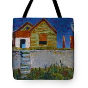 Old House With Lamppost Tote Bag