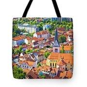 Old Ljubljana Cityscape Aerial View Tote Bag