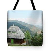 Old Log Cabin On Mountain Landscape Tote Bag