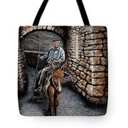 Old Man On A Donkey Tote Bag