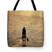 Old Man Paddling Into The Sunset Tote Bag
