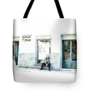 Old Man Sitting In Front Of A Shop Tote Bag