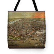 Old Manhattan Historic Illustration Tote Bag