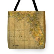 Old Map Of Florida Vintage Circa 1893 On Worn Distressed Parchment Tote Bag
