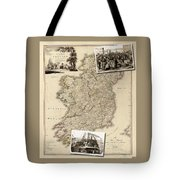 Vintage Map Of Ireland With Old Irish Woodcuts Tote Bag